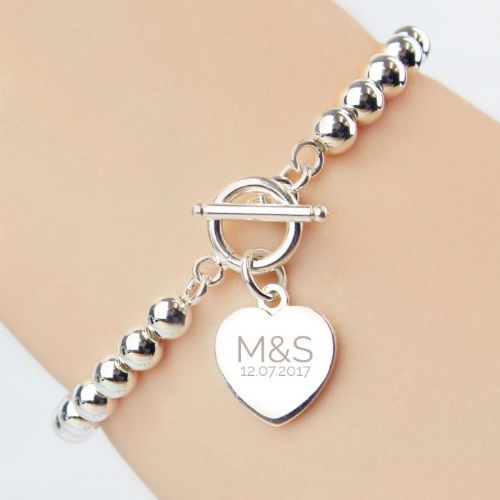 Personalised Silver Plated 'Initials and Date' Heart T-Bar Bracelet